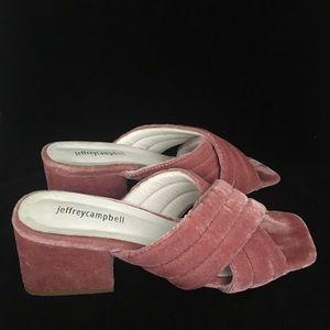 Jeffrey Campbell Pink Velvet Heel Sandals (8)